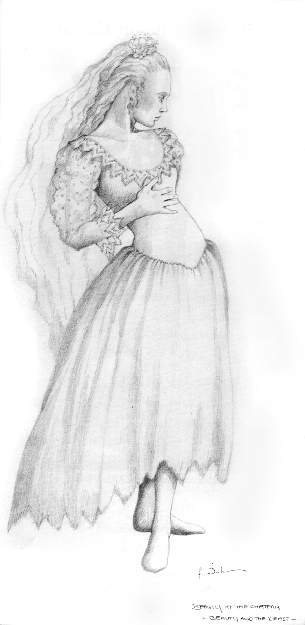 Costume drawing by Kristian Fredrikson of 'Beauty'