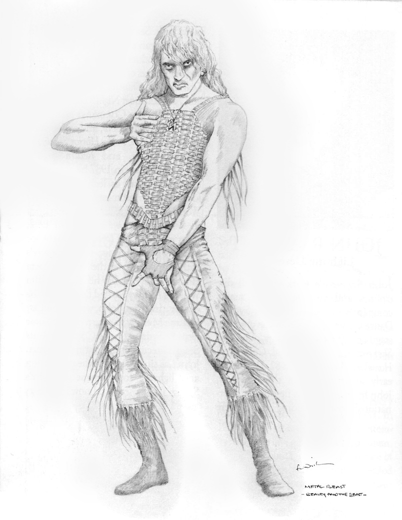 Costume drawing by Kristian Fredrikson of 'the Rock Beast'